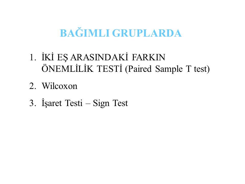 1.İKİ EŞ ARASINDAKİ FARKIN ÖNEMLİLİK TESTİ (Paired Sample T test) 2.Wilcoxon 3.İşaret Testi – Sign Test BAĞIMLI GRUPLARDA