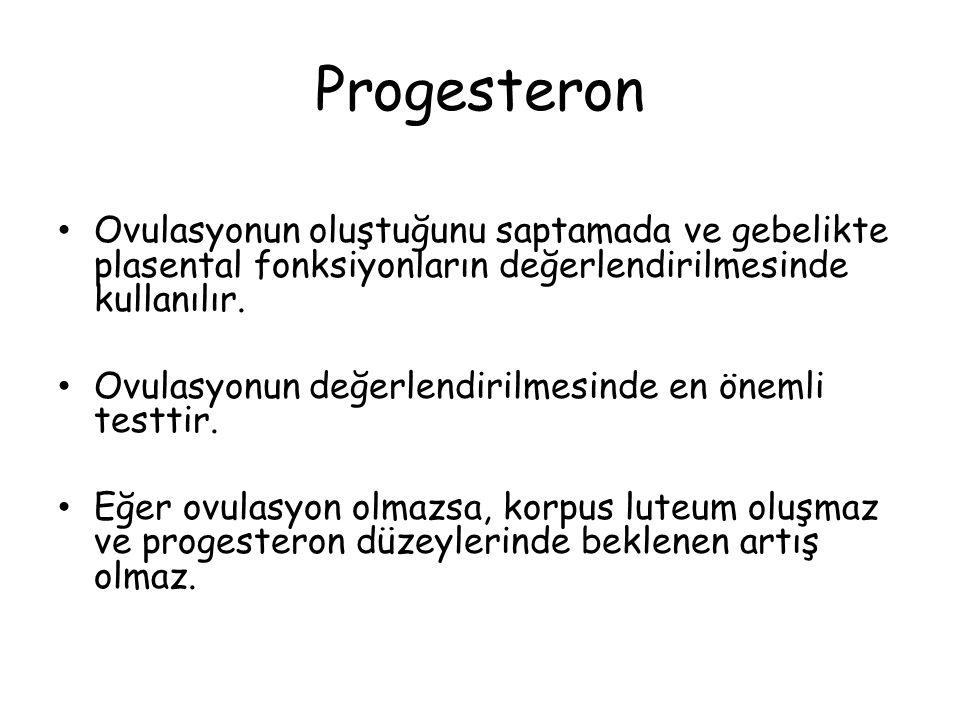 Progesteron Ovulasyonun oluştuğunu saptamada ve gebelikte plasental fonksiyonların değerlendirilmesinde kullanılır.