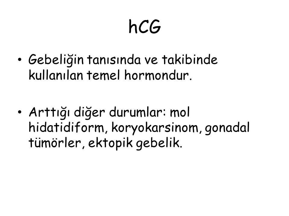 hCG Gebeliğin tanısında ve takibinde kullanılan temel hormondur.