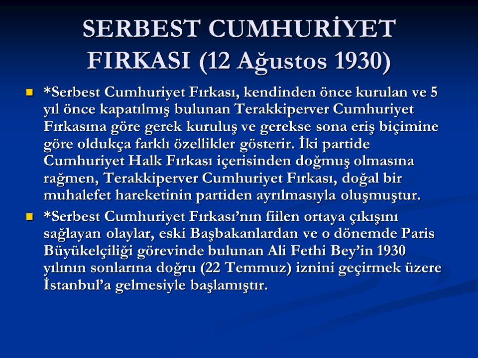 SERBEST CUMHURİYET FIRKASI (12 Ağustos 1930) *Serbest Cumhuriyet Fırkası, kendinden önce kurulan ve 5 yıl önce kapatılmış bulunan Terakkiperver Cumhur