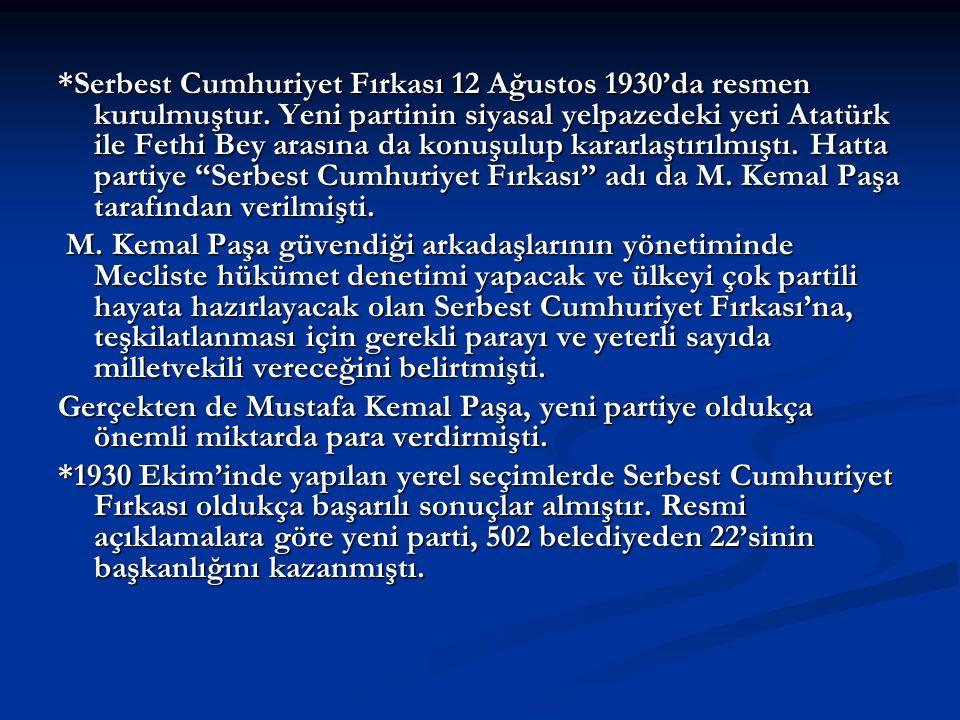 *Serbest Cumhuriyet Fırkası 12 Ağustos 1930'da resmen kurulmuştur. Yeni partinin siyasal yelpazedeki yeri Atatürk ile Fethi Bey arasına da konuşulup k