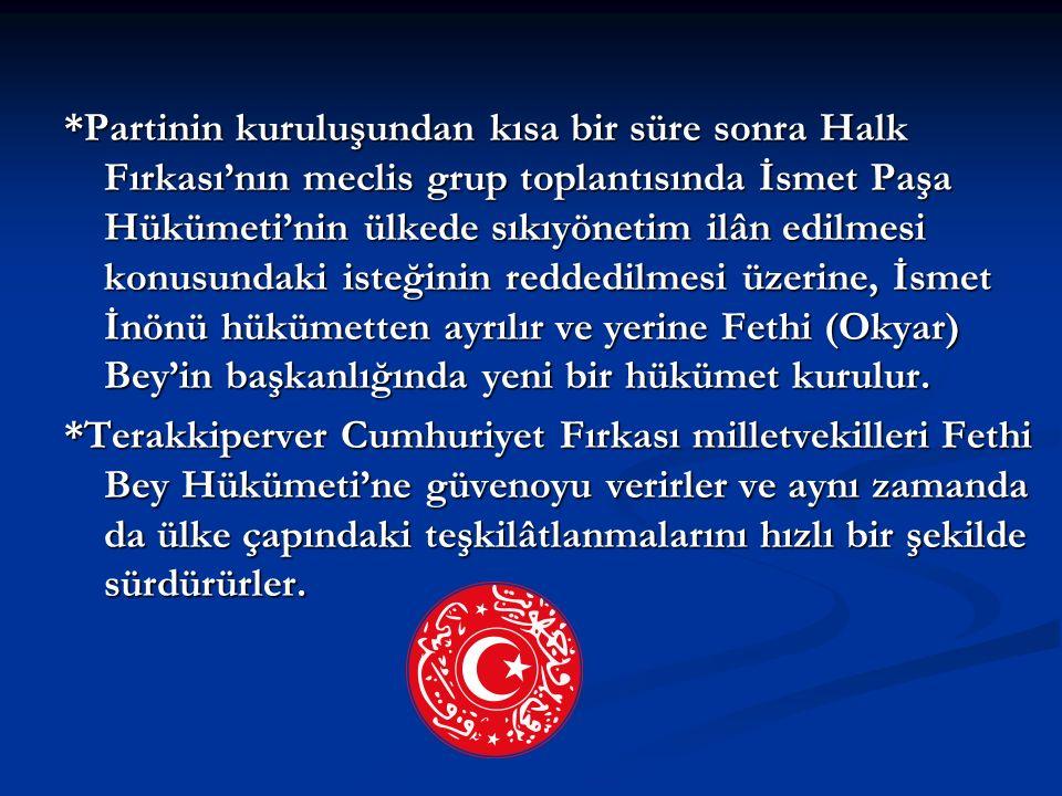 *Partinin kuruluşundan kısa bir süre sonra Halk Fırkası'nın meclis grup toplantısında İsmet Paşa Hükümeti'nin ülkede sıkıyönetim ilân edilmesi konusun