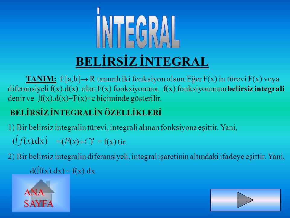 BELİRSİZ İNTEGRAL TANIM: f:[a,b]  R tanımlı iki fonksiyon olsun.Eğer F(x) in türevi F(x) veya diferansiyeli f(x).d(x) olan F(x) fonksiyonuna, f(x) fonksiyonunun belirsiz integrali denir ve  f(x).d(x)=F(x)+c biçiminde gösterilir.