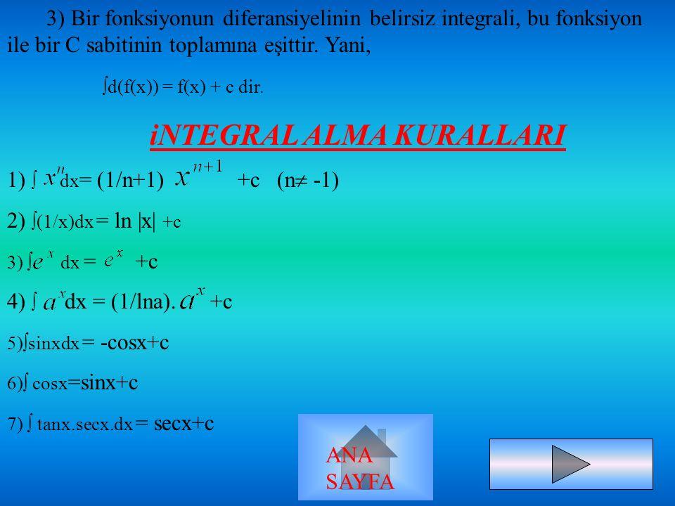 BELİRSİZ İNTEGRAL TANIM: f:[a,b]  R tanımlı iki fonksiyon olsun.Eğer F(x) in türevi F(x) veya diferansiyeli f(x).d(x) olan F(x) fonksiyonuna, f(x) fo