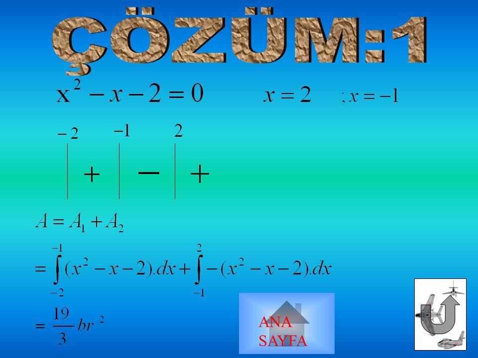 y=x 2 -x-2 x ekseni ve x=-2, x=2 doğrusu y=2-x 2, y=-x arasındaki alan ANA SAYFA
