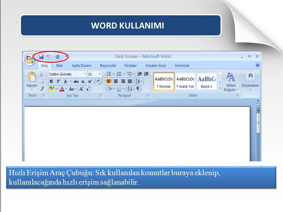 WORD KULLANIMI Sayfaya ekleyebileceğimiz bütün öğeler bu menüde yer alır. EKLE MENÜSÜ