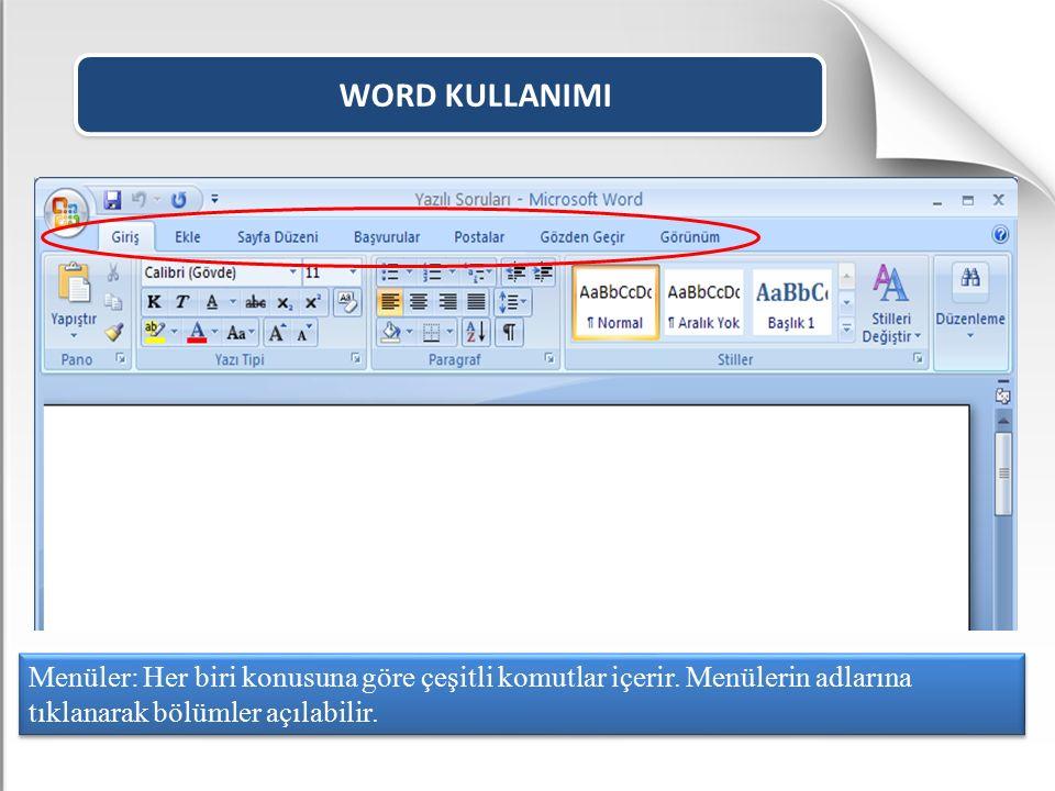 WORD KULLANIMI Sayfaya sütun ve satırların oluşturduğu hücrelerden oluşan bir tablo eklememizi sağlar.