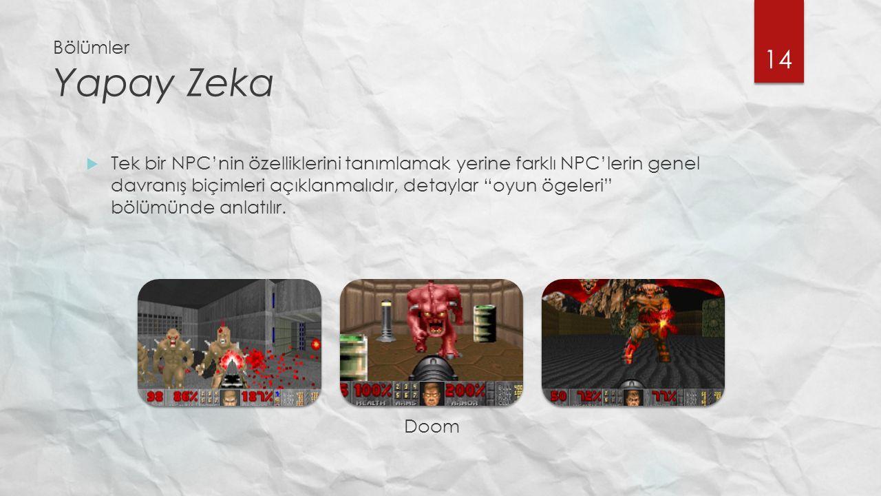 Bölümler Yapay Zeka  Tek bir NPC'nin özelliklerini tanımlamak yerine farklı NPC'lerin genel davranış biçimleri açıklanmalıdır, detaylar oyun ögeleri bölümünde anlatılır.