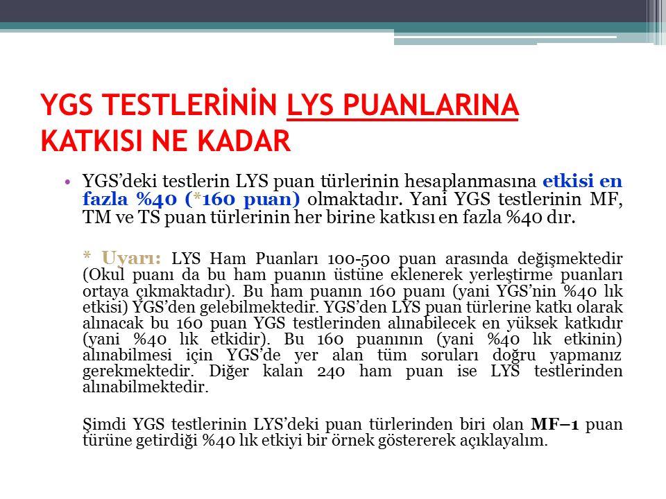 YGS TESTLERİNİN LYS PUANLARINA KATKISI NE KADAR YGS'deki testlerin LYS puan türlerinin hesaplanmasına etkisi en fazla %40 (*160 puan) olmaktadır. Yani