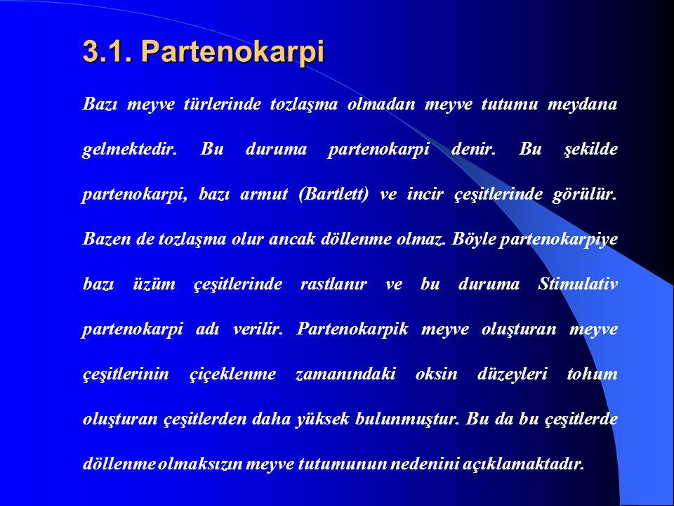 3.1. Partenokarpi 3.1. Partenokarpi Bazı meyve türlerinde tozlaşma olmadan meyve tutumu meydana gelmektedir. Bu duruma partenokarpi denir. Bu şekilde
