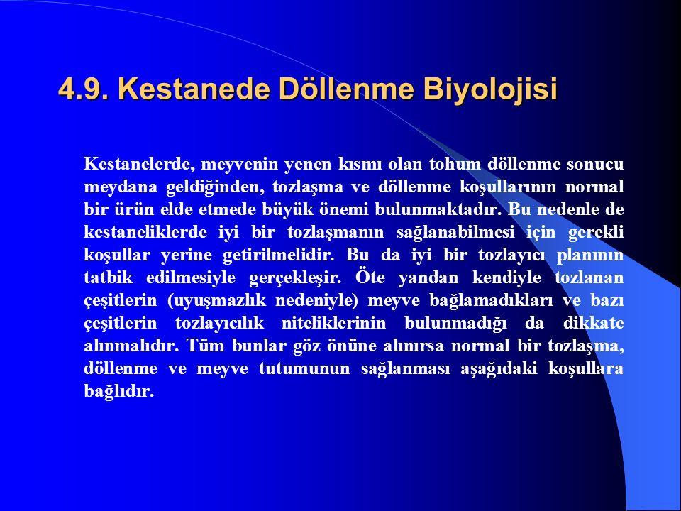 4.9. Kestanede Döllenme Biyolojisi Kestanelerde, meyvenin yenen kısmı olan tohum döllenme sonucu meydana geldiğinden, tozlaşma ve döllenme koşullarını