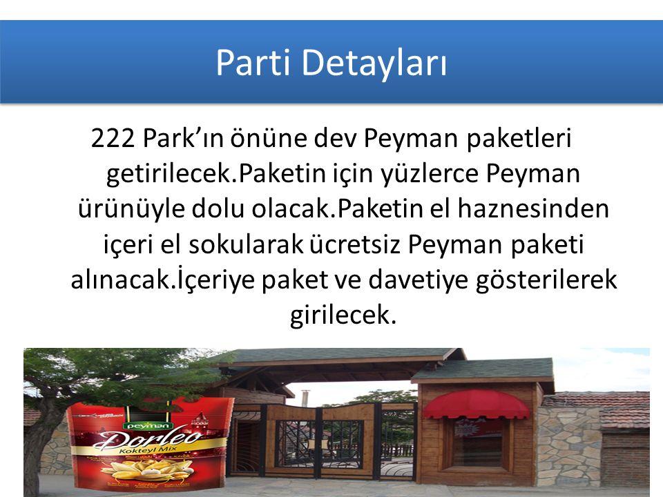 Parti Detayları 222 Park'ın önüne dev Peyman paketleri getirilecek.Paketin için yüzlerce Peyman ürünüyle dolu olacak.Paketin el haznesinden içeri el sokularak ücretsiz Peyman paketi alınacak.İçeriye paket ve davetiye gösterilerek girilecek.