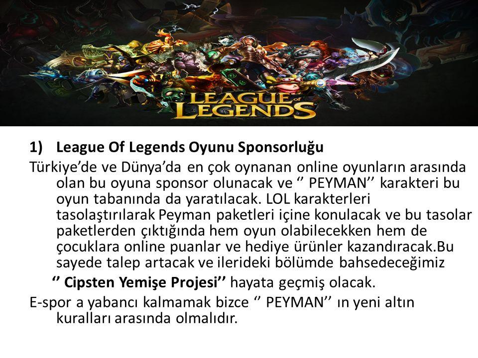 1)League Of Legends Oyunu Sponsorluğu Türkiye'de ve Dünya'da en çok oynanan online oyunların arasında olan bu oyuna sponsor olunacak ve '' PEYMAN'' karakteri bu oyun tabanında da yaratılacak.
