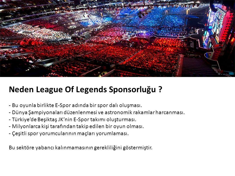 Neden League Of Legends Sponsorluğu .- Bu oyunla birlikte E-Spor adında bir spor dalı oluşması.