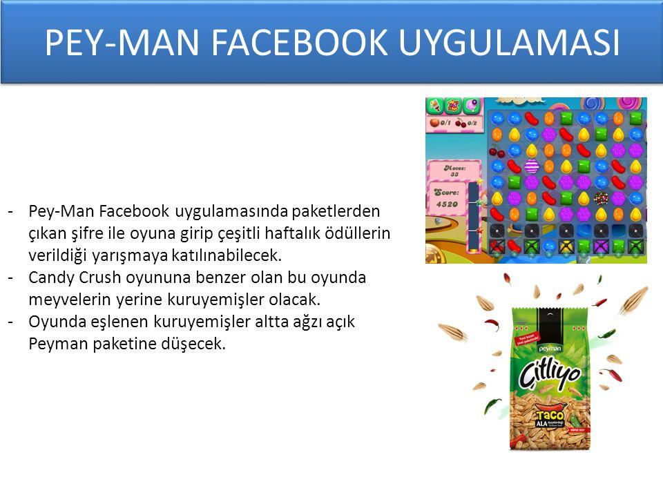 PEY-MAN FACEBOOK UYGULAMASI -Pey-Man Facebook uygulamasında paketlerden çıkan şifre ile oyuna girip çeşitli haftalık ödüllerin verildiği yarışmaya katılınabilecek.