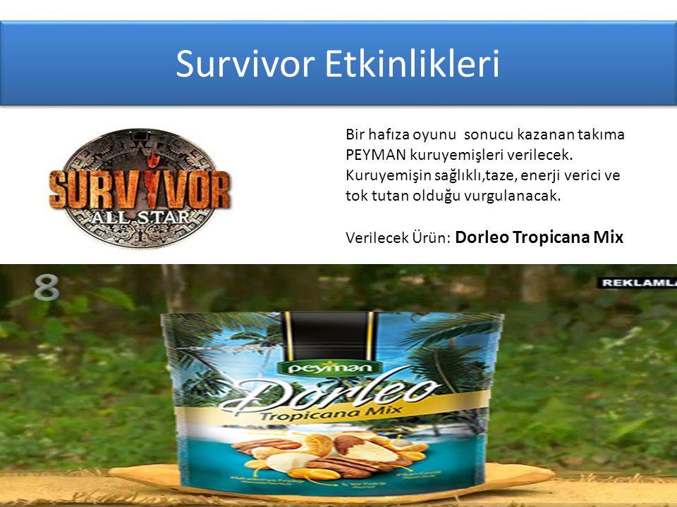 Survivor Etkinlikleri Bir hafıza oyunu sonucu kazanan takıma PEYMAN kuruyemişleri verilecek.