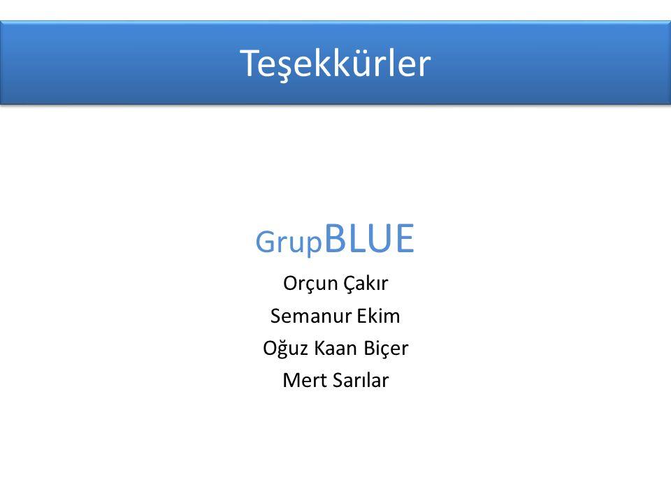 Grup BLUE Orçun Çakır Semanur Ekim Oğuz Kaan Biçer Mert Sarılar Teşekkürler
