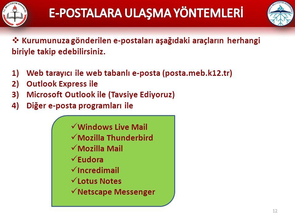 12  Kurumunuza gönderilen e-postaları aşağıdaki araçların herhangi biriyle takip edebilirsiniz. 1)Web tarayıcı ile web tabanlı e-posta (posta.meb.k12