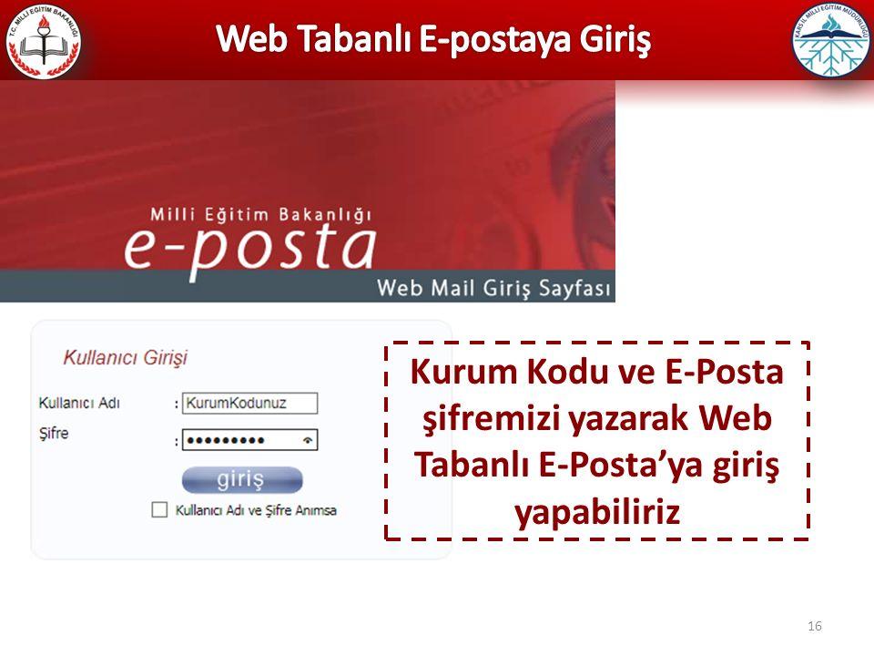 16 Kurum Kodu ve E-Posta şifremizi yazarak Web Tabanlı E-Posta'ya giriş yapabiliriz