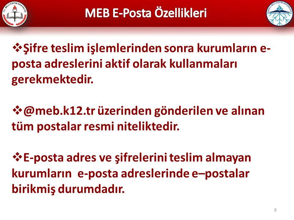 8  Şifre teslim işlemlerinden sonra kurumların e- posta adreslerini aktif olarak kullanmaları gerekmektedir.  @meb.k12.tr üzerinden gönderilen ve al