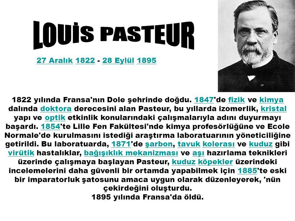 27 Aralık27 Aralık 1822 - 28 Eylül 1895182228 Eylül1895 1822 yılında Fransa nın Dole şehrinde doğdu.