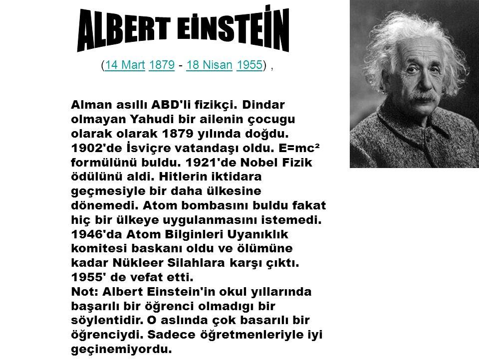 Buluşları Einstein ın fizik alanındaki çalışmaları modern bilimi büyük ölçüde etkiledi.fizik Bu teori üç bölüme ayrılır: Newton mekaniğinin uygulanabildiği alanı kısıtlayan ve kütle ile enerjinin eşdeğerli olduğunu öne süren Özel Görelilik (1905);Özel Görelilik Eğrisel ve sonlu olarak düşünülen dört boyutlu bir evrene ait çekim teorisini veren Genel Görelilik (1916);Genel Görelilik Elektro-manyetizma ve yerçekimini aynı alanda birleştiren daha geniş kapsamlı teori denemeleri.