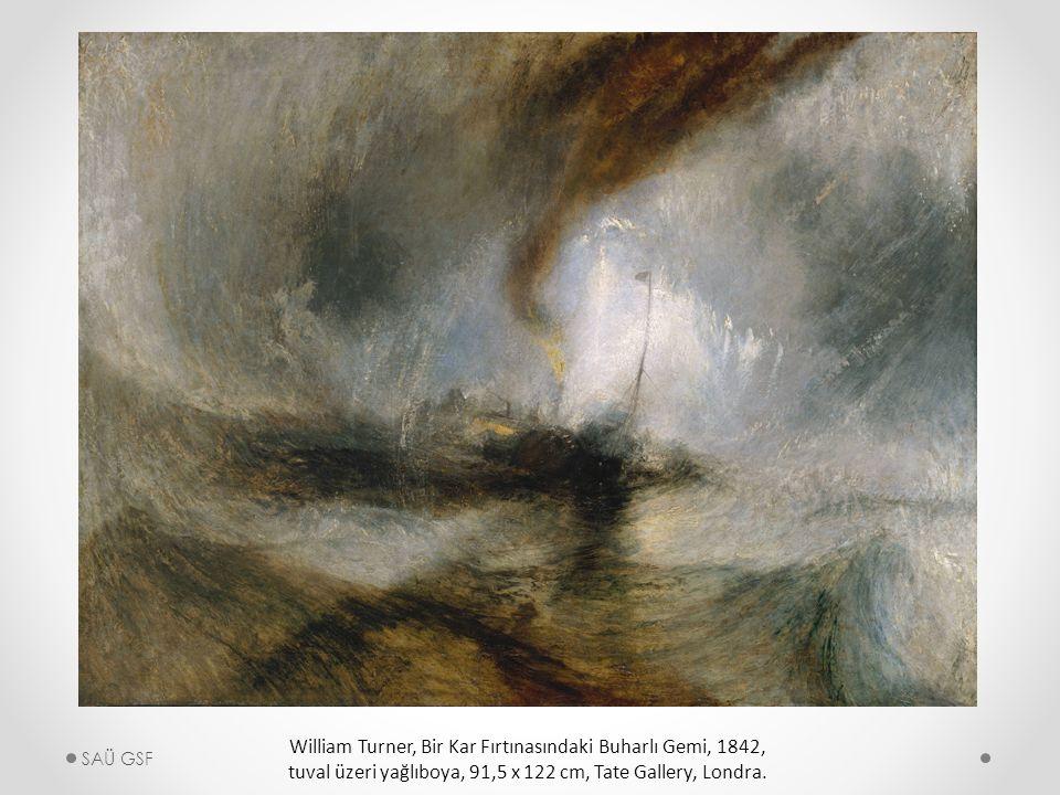 William Turner, Bir Kar Fırtınasındaki Buharlı Gemi, 1842, tuval üzeri yağlıboya, 91,5 x 122 cm, Tate Gallery, Londra.