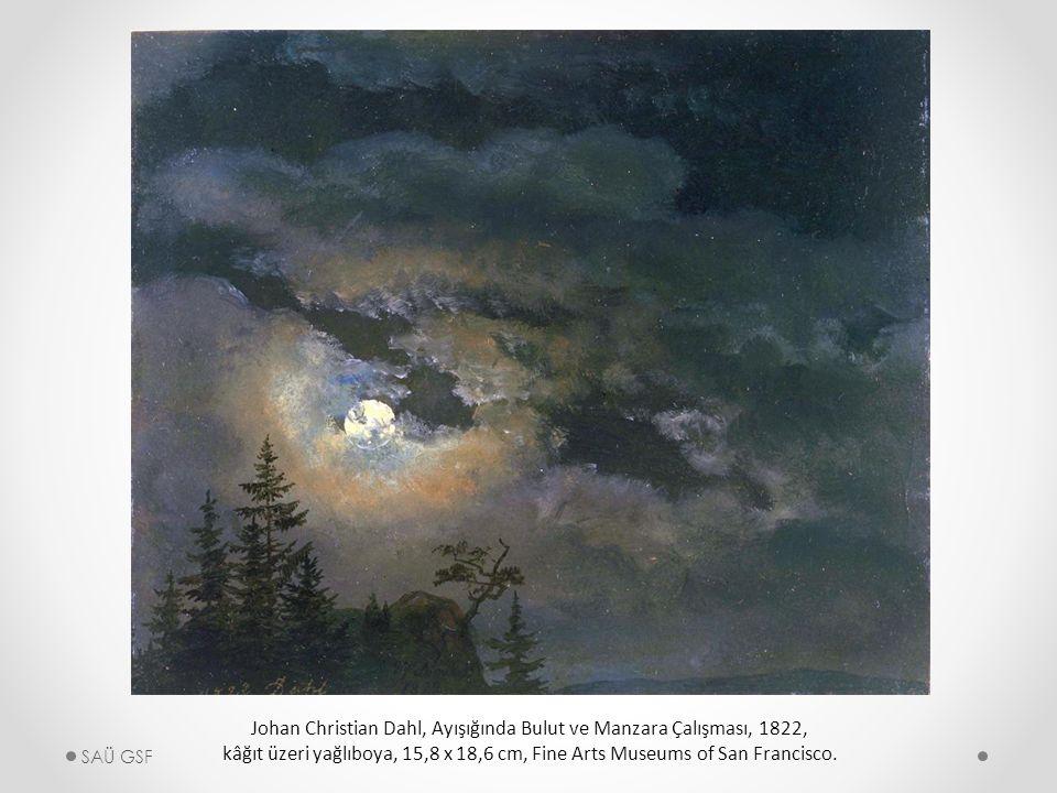Johan Christian Dahl, Ayışığında Bulut ve Manzara Çalışması, 1822, kâğıt üzeri yağlıboya, 15,8 x 18,6 cm, Fine Arts Museums of San Francisco.