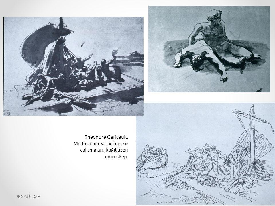 Theodore Gericault, Medusa'nın Salı için eskiz çalışmaları, kağıt üzeri mürekkep. SAÜ GSF