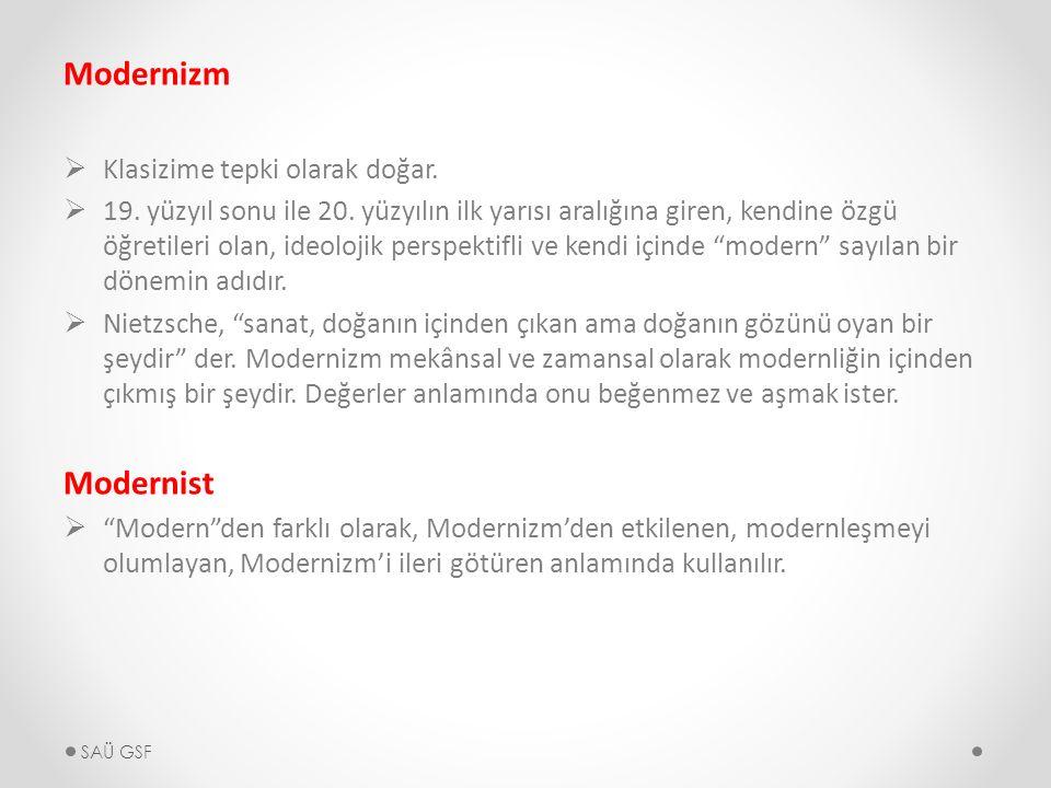 Modernizm  Klasizime tepki olarak doğar.  19. yüzyıl sonu ile 20.