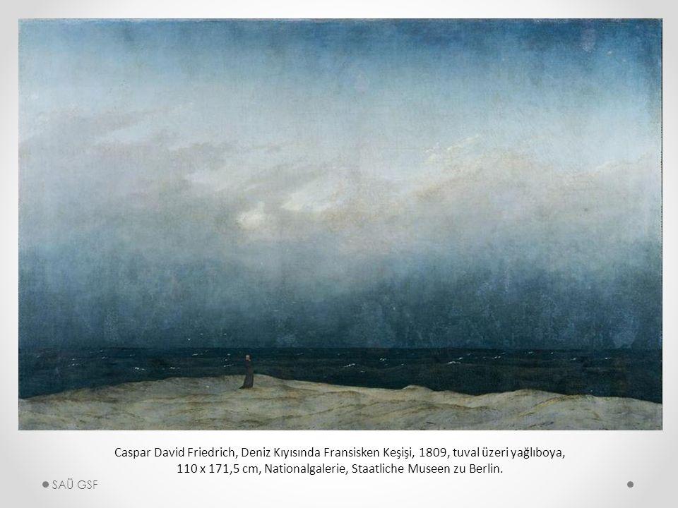 Caspar David Friedrich, Deniz Kıyısında Fransisken Keşişi, 1809, tuval üzeri yağlıboya, 110 x 171,5 cm, Nationalgalerie, Staatliche Museen zu Berlin.