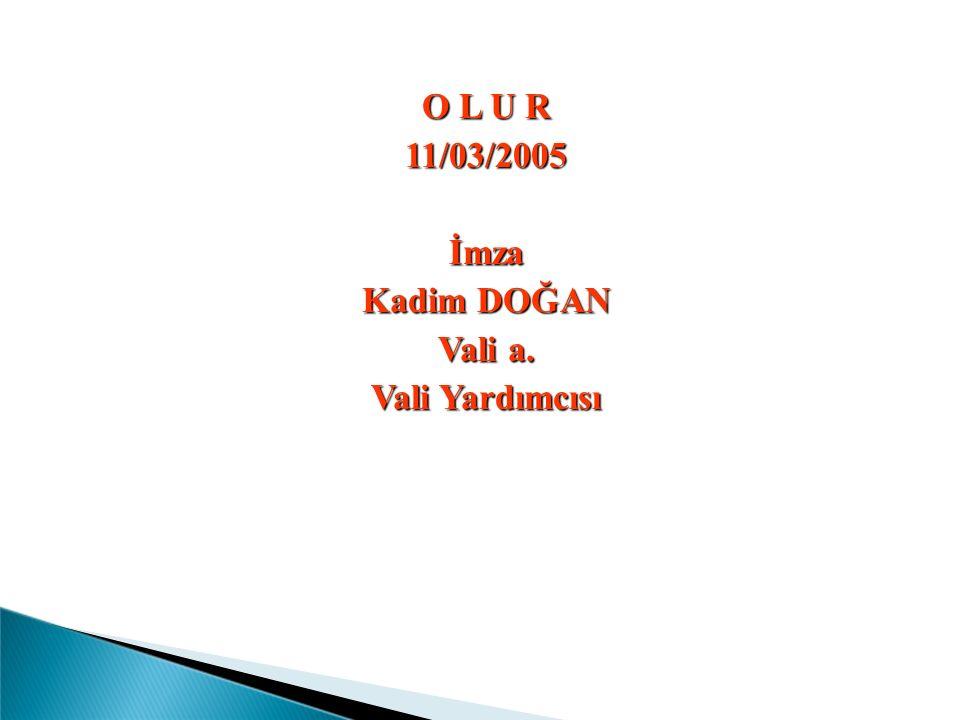 O L U R 11/03/2005İmza Kadim DOĞAN Vali a. Vali Yardımcısı