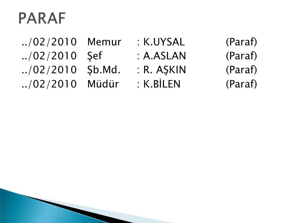 ../02/2010 Memur: K.UYSAL (Paraf)../02/2010 Şef: A.ASLAN (Paraf)../02/2010 Şb.Md.: R. AŞKIN (Paraf)../02/2010 Müdür: K.BİLEN (Paraf)