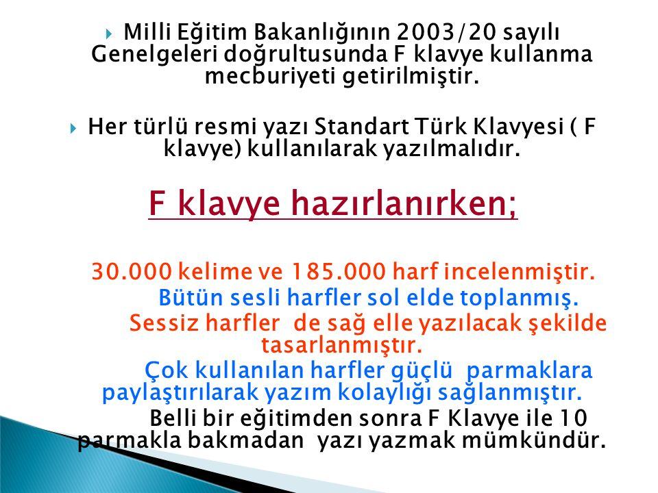  Milli Eğitim Bakanlığının 2003/20 sayılı Genelgeleri doğrultusunda F klavye kullanma mecburiyeti getirilmiştir.  Her türlü resmi yazı Standart Türk