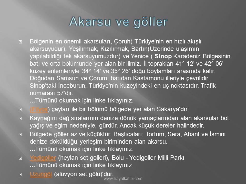  Bölgenin en önemli akarsuları, Çoruh( Türkiye'nin en hızlı akışlı akarsuyudur), Yeşilırmak, Kızılırmak, Bartın(Üzerinde ulaşımın yapılabildiği tek a