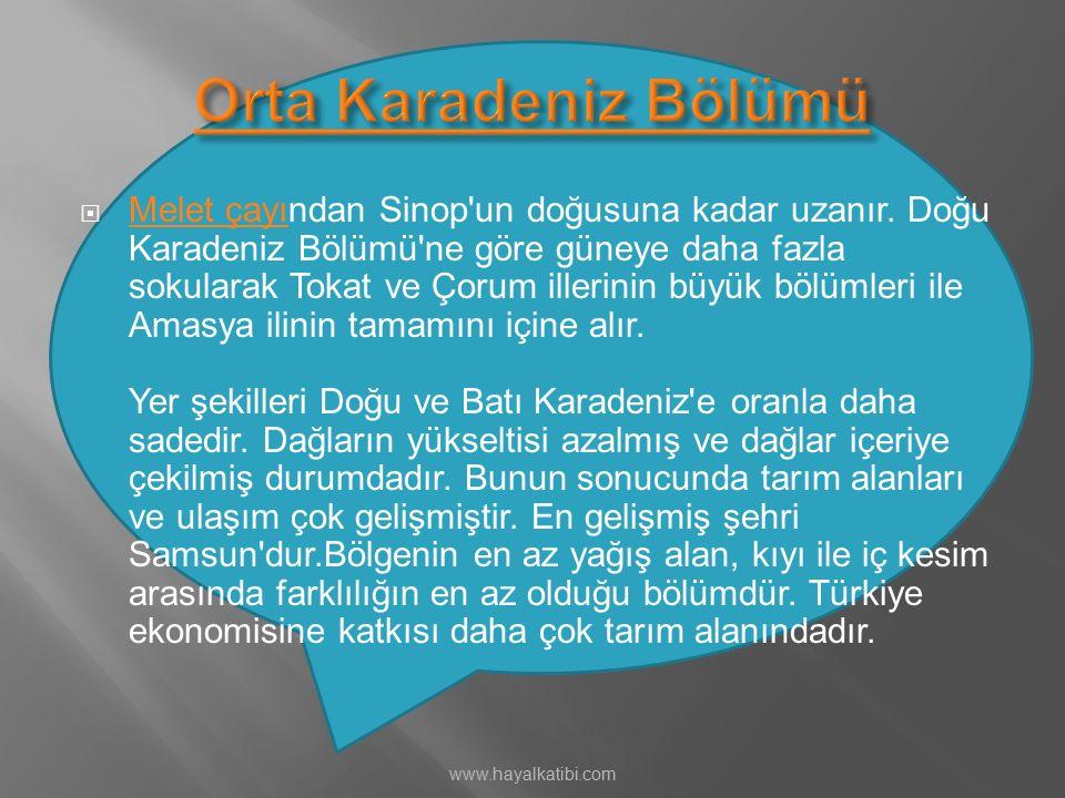  Melet çayından Sinop'un doğusuna kadar uzanır. Doğu Karadeniz Bölümü'ne göre güneye daha fazla sokularak Tokat ve Çorum illerinin büyük bölümleri il