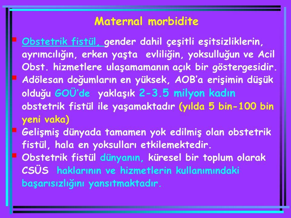  Obstetrik fistül, gender dahil çeşitli eşitsizliklerin, ayrımcılığın, erken yaşta evliliğin, yoksulluğun ve Acil Obst. hizmetlere ulaşamamanın açık