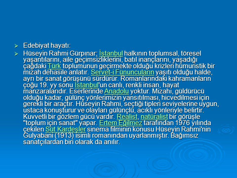  Edebiyat hayatı:  Hüseyin Rahmi Gürpınar; İstanbul halkının toplumsal, töresel yaşantılarını, aile geçimsizliklerini, batıl inançlarını, yaşadığı çağdaki Türk toplumunun geçirmekte olduğu krizleri hümuristik bir mizah dehasile anlatır.
