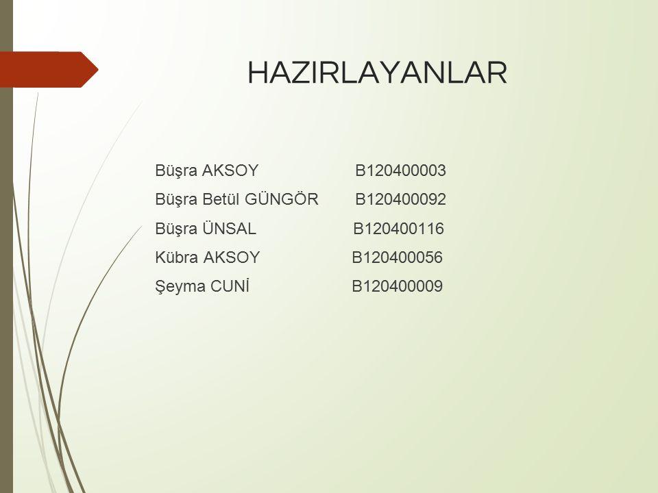 HAZIRLAYANLAR Büşra AKSOY B120400003 Büşra Betül GÜNGÖR B120400092 Büşra ÜNSAL B120400116 Kübra AKSOY B120400056 Şeyma CUNİ B120400009