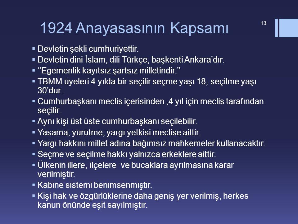 1924 Anayasasının Kapsamı  Devletin şekli cumhuriyettir.  Devletin dini İslam, dili Türkçe, başkenti Ankara'dır.  ''Egemenlik kayıtsız şartsız mill