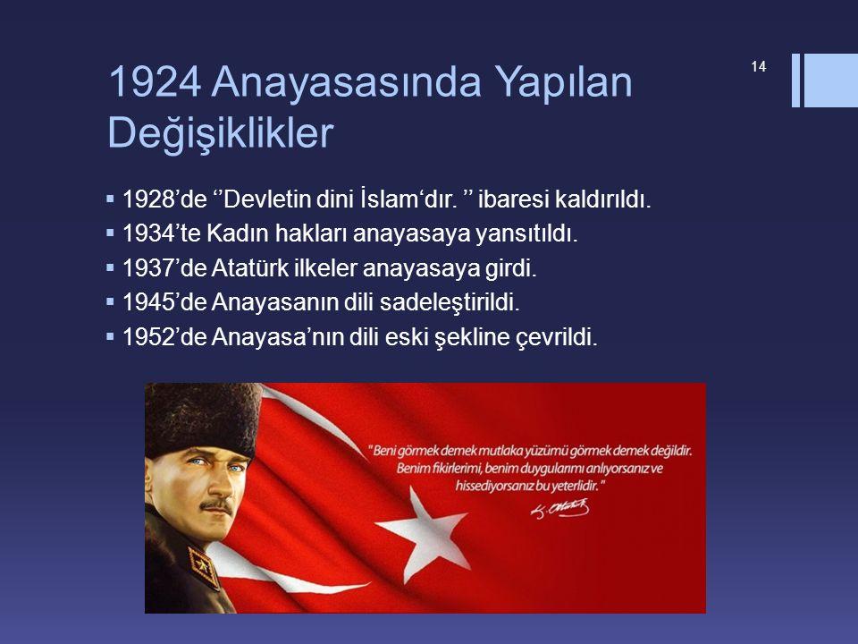 1924 Anayasasında Yapılan Değişiklikler  1928'de ''Devletin dini İslam'dır. '' ibaresi kaldırıldı.  1934'te Kadın hakları anayasaya yansıtıldı.  19