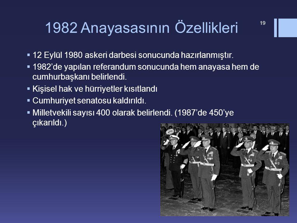 1982 Anayasasının Özellikleri  12 Eylül 1980 askeri darbesi sonucunda hazırlanmıştır.  1982'de yapılan referandum sonucunda hem anayasa hem de cumhu