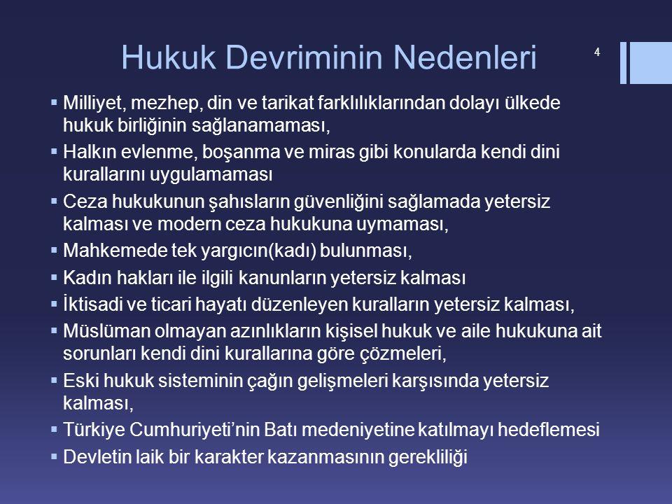 Hukuk Devriminin Nedenleri  Milliyet, mezhep, din ve tarikat farklılıklarından dolayı ülkede hukuk birliğinin sağlanamaması,  Halkın evlenme, boşanm