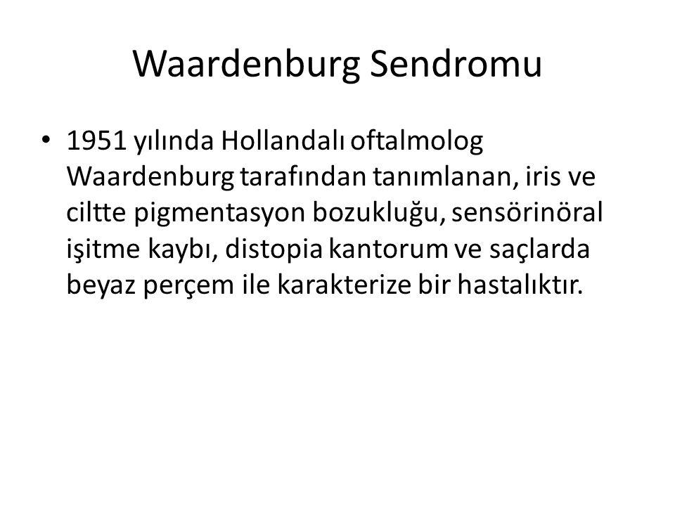 Waardenburg Sendromu 1951 yılında Hollandalı oftalmolog Waardenburg tarafından tanımlanan, iris ve ciltte pigmentasyon bozukluğu, sensörinöral işitme kaybı, distopia kantorum ve saçlarda beyaz perçem ile karakterize bir hastalıktır.