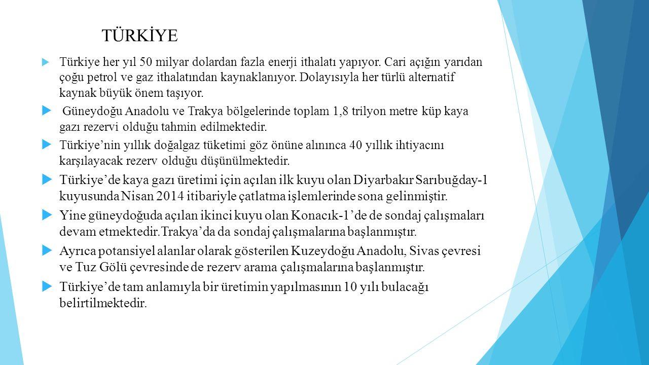 TÜRKİYE  Türkiye her yıl 50 milyar dolardan fazla enerji ithalatı yapıyor.