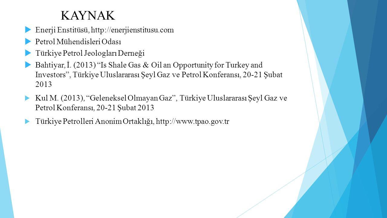 KAYNAK  Enerji Enstitüsü, http://enerjienstitusu.com  Petrol Mühendisleri Odası  Türkiye Petrol Jeologları Derneği  Bahtiyar, İ.