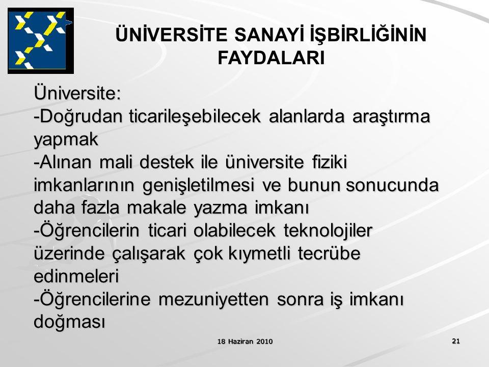 18 Haziran 2010 21 Üniversite: -Doğrudan ticarileşebilecek alanlarda araştırma yapmak -Alınan mali destek ile üniversite fiziki imkanlarının genişleti
