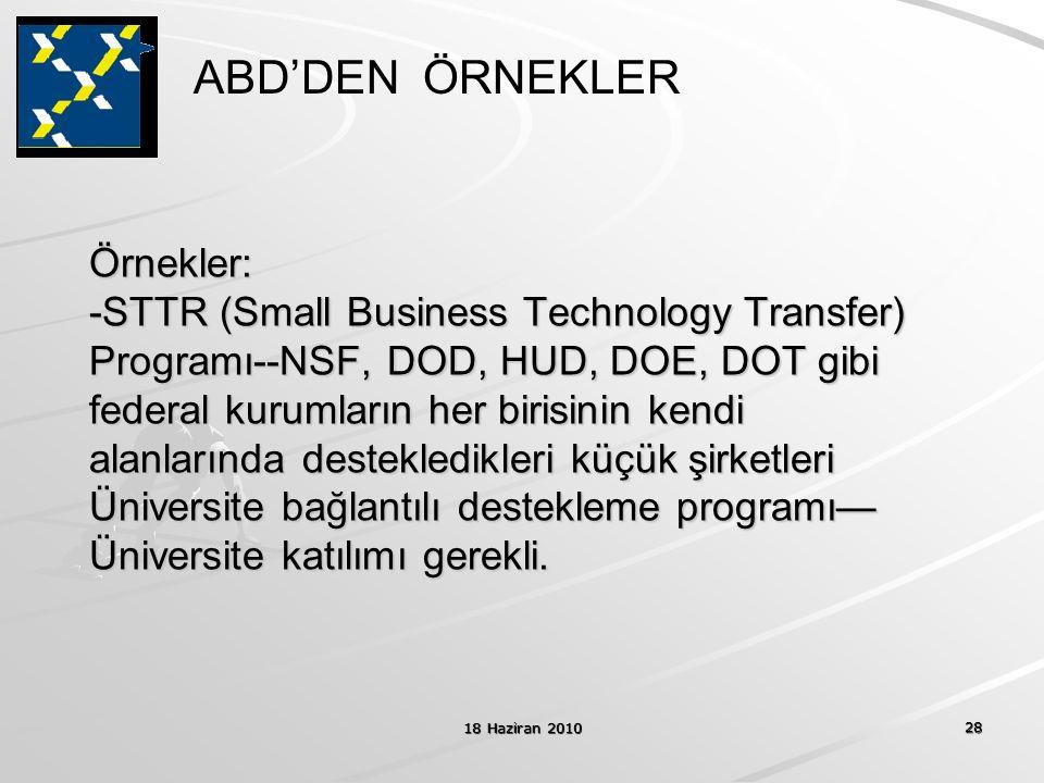 18 Haziran 2010 28 Örnekler: -STTR (Small Business Technology Transfer) Programı--NSF, DOD, HUD, DOE, DOT gibi federal kurumların her birisinin kendi alanlarında destekledikleri küçük şirketleri Üniversite bağlantılı destekleme programı— Üniversite katılımı gerekli.