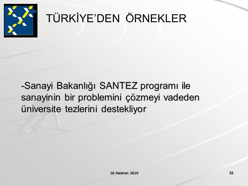 18 Haziran 2010 32 -Sanayi Bakanlığı SANTEZ programı ile sanayinin bir problemini çözmeyi vadeden üniversite tezlerini destekliyor TÜRKİYE'DEN ÖRNEKLE