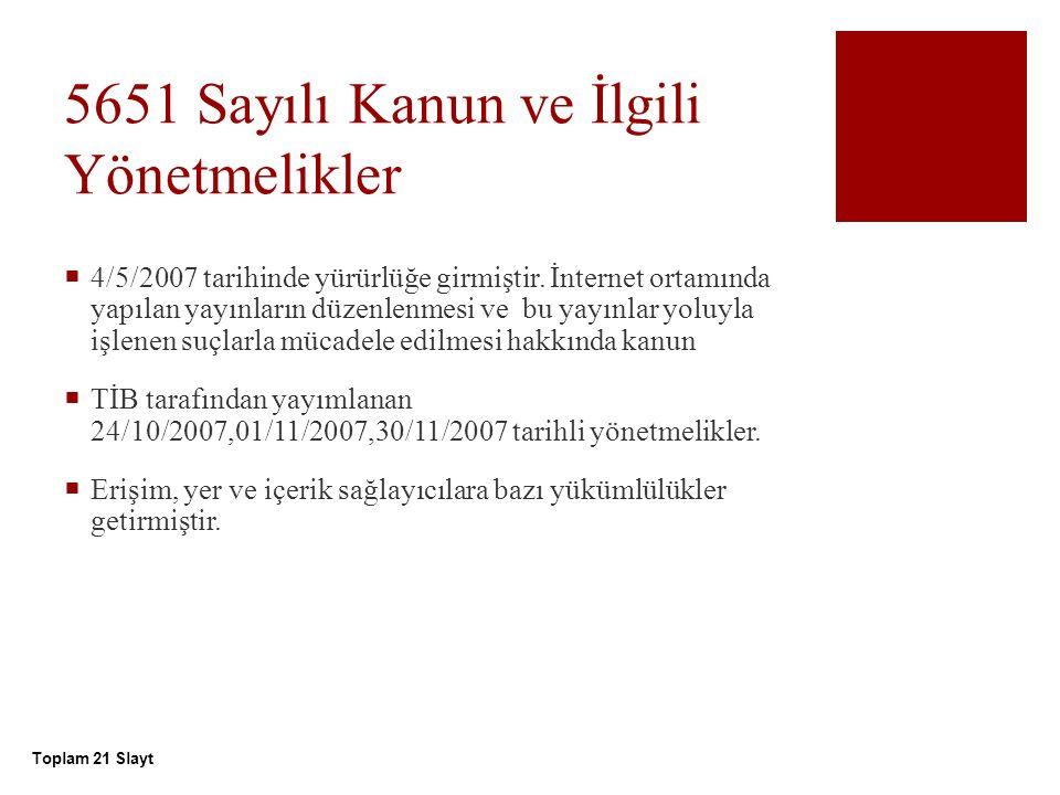 5651 Sayılı Kanun ve İlgili Yönetmelikler  4/5/2007 tarihinde yürürlüğe girmiştir.